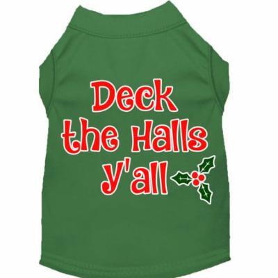 Deck The Halls Y'all Screen Print Dog Shirt Green Xxxl