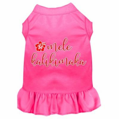 Mele Kalikimaka Screen Print Dog Dress Bright Pink Xxxl