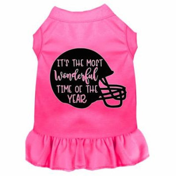 Most Wonderful Time Of The Year (football) Screen Print Dog Dress Bright Pink Lg