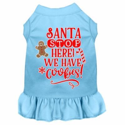 Santa, We Have Cookies Screen Print Dog Dress Baby Blue Med
