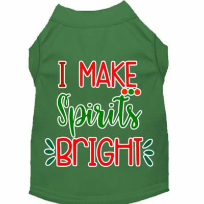 I Make Spirits Bright Screen Print Dog Shirt Green Sm