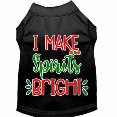 I Make Spirits Bright Screen Print Dog Shirt Black Xxl