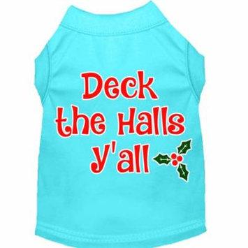 Deck The Halls Y'all Screen Print Dog Shirt Aqua Med