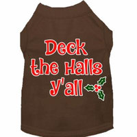 Deck The Halls Y'all Screen Print Dog Shirt Brown Xxxl