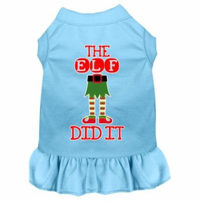 The Elf Did It Screen Print Dog Dress Baby Blue Xs