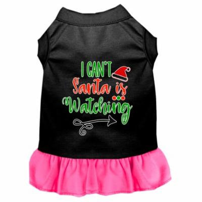 I Can't, Santa Is Watching Screen Print Dog Dress Black With Bright Pink Med