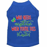 Who Needs Mistletoe Screen Print Dog Shirt Blue Xxl