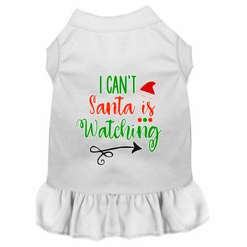I Can't, Santa Is Watching Screen Print Dog Dress White Sm