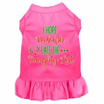 Hope Rudolph Eats Naughty List Screen Print Dog Dress Bright Pink Xl