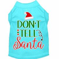 Don't Tell Santa Screen Print Dog Shirt Aqua Xxl