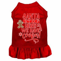 Santa, We Have Cookies Screen Print Dog Dress Red Med