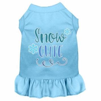Snow Cute Screen Print Dog Dress Baby Blue Sm