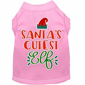 Santa's Cutest Elf Screen Print Dog Shirt Light Pink Xs