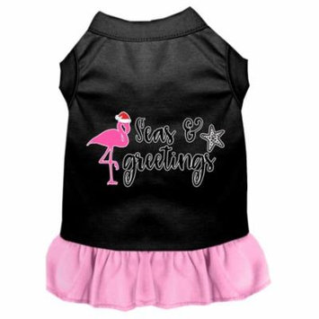 Seas And Greetings Screen Print Dog Dress Black With Light Pink Lg