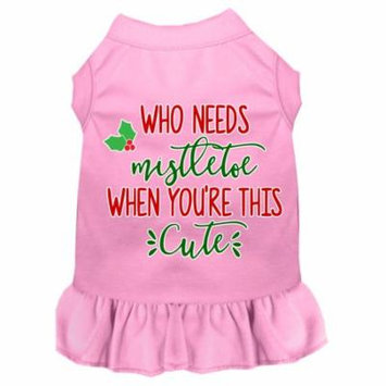 Who Needs Mistletoe Screen Print Dog Dress Light Pink Xxl