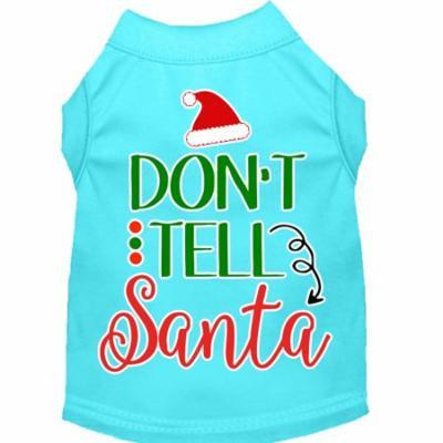 Don't Tell Santa Screen Print Dog Shirt Aqua Xs