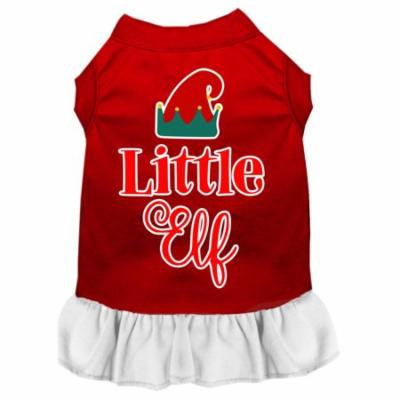 Little Elf Screen Print Dog Dress Red With White Lg