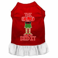 The Elf Did It Screen Print Dog Dress Red With White Sm