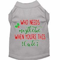 Who Needs Mistletoe Screen Print Dog Shirt Grey Xxxl