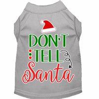 Don't Tell Santa Screen Print Dog Shirt Grey Sm