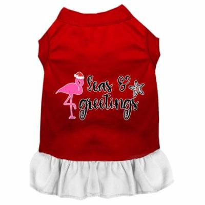 Seas And Greetings Screen Print Dog Dress Red With White Sm