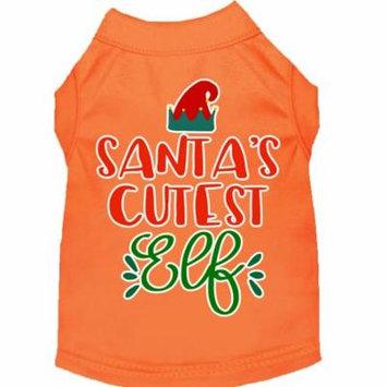 Santa's Cutest Elf Screen Print Dog Shirt Orange Lg