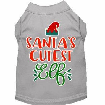 Santa's Cutest Elf Screen Print Dog Shirt Grey Lg