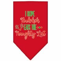 Hope Rudolph Eats Naughty List Screen Print Bandana Red Large