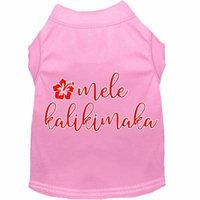 Mele Kalikimaka Screen Print Dog Shirt Light Pink Med