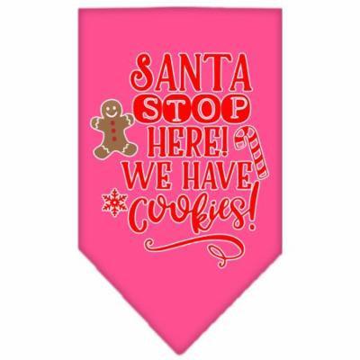 Santa, We Have Cookies Screen Print Bandana Bright Pink Large