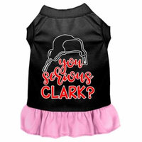 You Serious Clark? Screen Print Dog Dress Black With Light Pink Med
