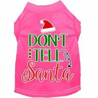 Don't Tell Santa Screen Print Dog Shirt Bright Pink Sm