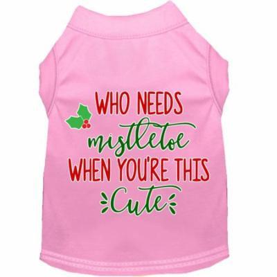 Who Needs Mistletoe Screen Print Dog Shirt Light Pink Xl