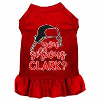 You Serious Clark? Screen Print Dog Dress Red Sm
