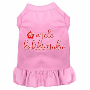 Mele Kalikimaka Screen Print Dog Dress Light Pink Xxl