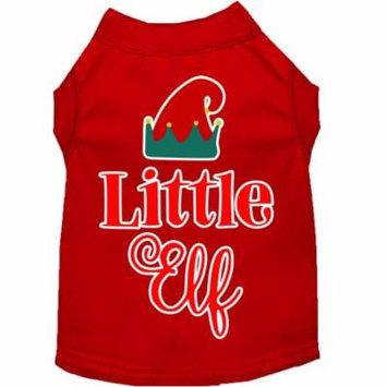 Little Elf Screen Print Dog Shirt Red Sm