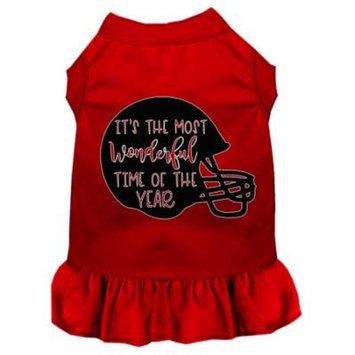 Most Wonderful Time Of The Year (football) Screen Print Dog Dress Red 4x
