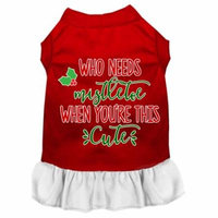 Who Needs Mistletoe Screen Print Dog Dress Red With White Xxl