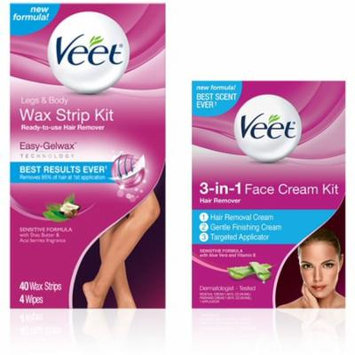 4 Pack - VEET Hair Remover Kit With Wax Strips For Leg & Body (40 cnt) and 3-in-1 Face Cream (2 x 1.69oz), Sensitive For
