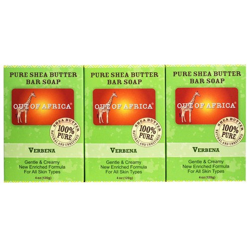 Out of Africa, Pure Shea Butter Bar Soap, Verbena, 3 Pack, 4 oz (120 g) Each [Scent : Verbena]