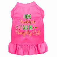 Hope Rudolph Eats Naughty List Screen Print Dog Dress Bright Pink 4x