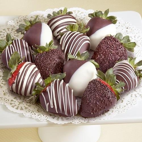 Golden State Fruit Chocolate Covered Strawberries, 12 Dark, Milk & White Delight [12 Berries]