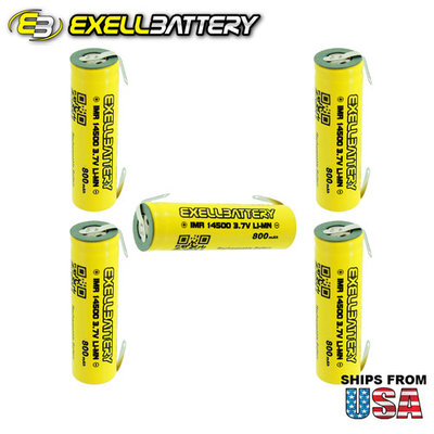 5pc IMR 14500 LiMN 800mAh Rechargeable High Drain Battery With TABS FAST SHIP