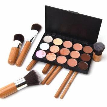 15 Colors Face Concealer Camouflage Cream Contour Palette 10pcs Makeup Brush Set