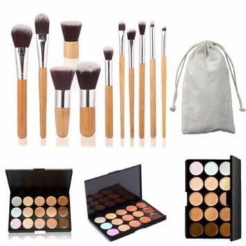 15 Colors Makeup Face Concealer Cream Contour Palette w/11Pcs Powder Brush Set