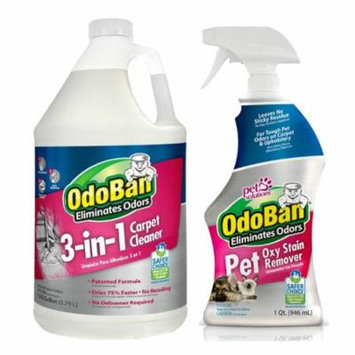 OdoBan Pet Oxy Stain Remover 32oz Spray Bottle and 3-n-1 Carpet Cleaner Gallon
