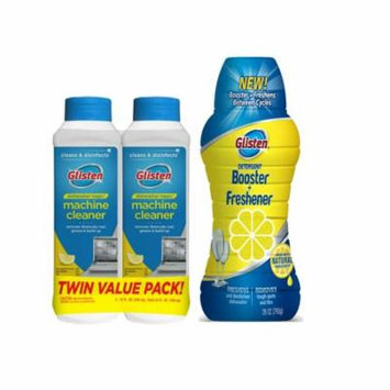 Glisten Dishwasher Magic Machine Cleaner and Disinfectant 2-Pack and Dishwasher Detergent Booster