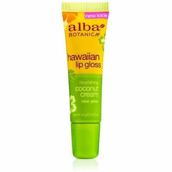 Alba Hawaiian Clear Lip Gloss, Alba Botanica, 0.42 oz Coconut Cream