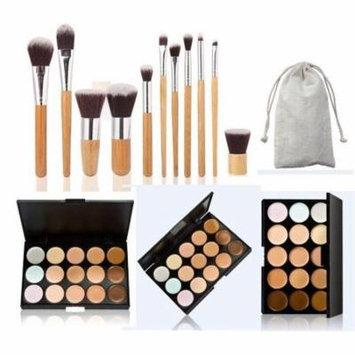 15 Colors Contour Face Cream Makeup Concealer Palette 11 Pcs Bamboo Brush Set