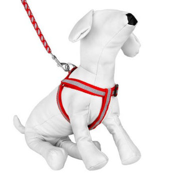 Cue Cue Pet Braided Choke Free Harness w/ Leash for Walking or Exercise (Red/Grey)